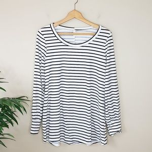 Mai Soli | Black and White Striped Sueded Tee
